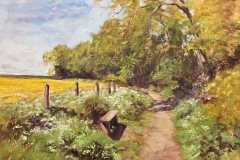 Top Woodland Path  - by Stone Artist- Barbara Bell - Facebook - Barbara Bell Oil Paintings